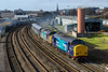 28th Jan 2016:  Rounding the curve at Bristol Barton Hill are newly out shopped 37069 and 37609 working  6Z40 back to Crewe Coal Sidings from Devonport Royal Dockyard