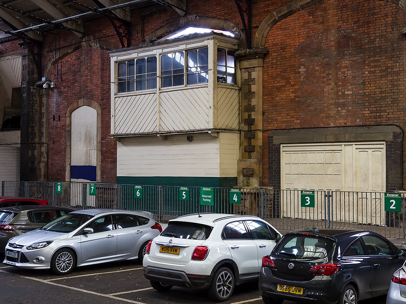 2nd Jan 2016:  The old signal box in the North wall of the original Brunel Train Shed at Temple Meads station.  Now a car park it will see the new electric trains when they eventually start running.  This  part was used  by the Midland/LMS and the box windows make me think that it was built by the Midland Railway.