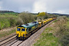 26th Apr 2016:  Returning to Fairwater Yard in Taunton passed Strap Lane near Bruton is 66536 working 6C73 from Westbury.  The wagons had been taken to Westbury to be refilled with ballast from the Virtual Quarry there