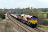 3rd Apr 2016:  A few minutes earlier of later and it was in full bling so here is another dull'un.  66093 is working 6T26 from Bristol East Junction to Hinksey Sidings but because the line between Bristol and Bath is closed for track relaying the trip is via  a round about route, Bristol, Taunton, Westbury Reading and Didcot and after almost 3 hours it thas got  as far as Great Cheverell.