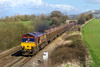 6th Apr 2016:  Opening up as it leaves Westbury is 66150 heading 6C48 from Appleford to Whatley empties
