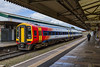 25th Apr 2016:  Standing in Platform 2 is 159103 in the new SWT livery.  1L35 is the 12.50 from Waterloo to Yeovil Pen Mill.  I must say that I do not think that this paint job is an improvement, a very backward step in fact.