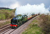 26th Apr 2016:  On the first leg of the Great Brittain 1X rail tour 46100 'Royal Scot' is goiung well as it passes Strap Lane near Bruton.  A few minutes earlier and it would have been full sun but soon after there was a viiolent hail storm.  So perhaps not so unlucky after all