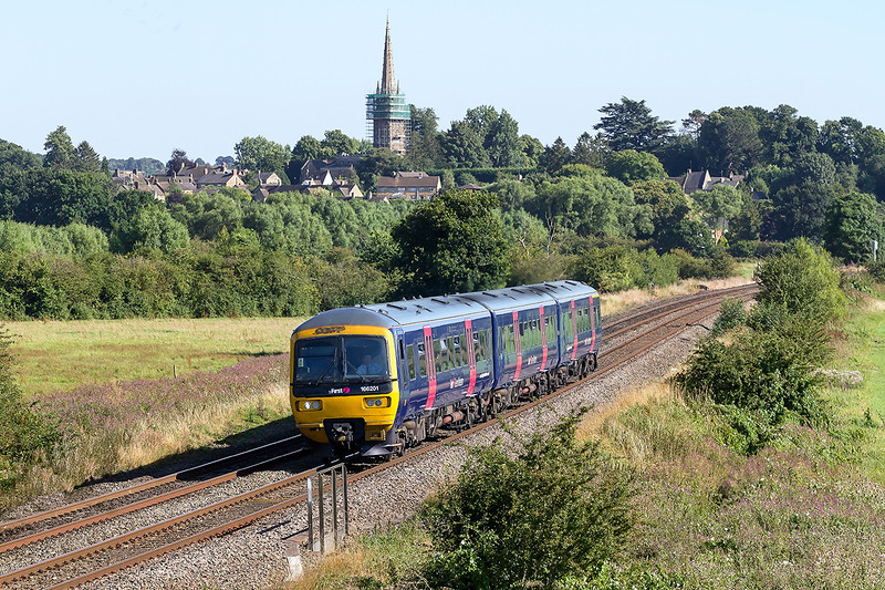 15th Aug 2016:  2L48 the 16.18 Oxford to Banbury leaving Kings Sutton in the hands of Pioneer 166201 now minus it's wiggly lines