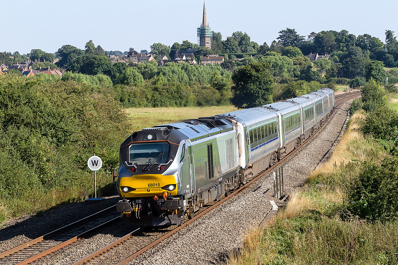 15th Aug 2016:  Storming through Kings Sutton is 68015 on the point of 1K45 the 16.15 Marylebone to Kidderminster.  This service was terminated at Leamington Spa due to an incident further up the line