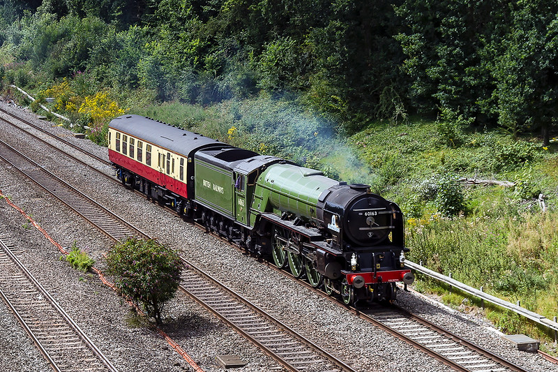 9th Aug 2016:  After weekend railtour duty LNER A1 Pacific 60163 'Tornado is heading back to Stewarts Lane from Bristol Philips Marsh depot..  Pictured as it leaves Twyford