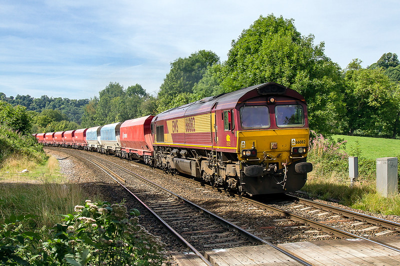 16th Aug 2016:  Rounding the curve into Freshford is 66082 working from Bennets Siding in Avounmouth to Westbury
