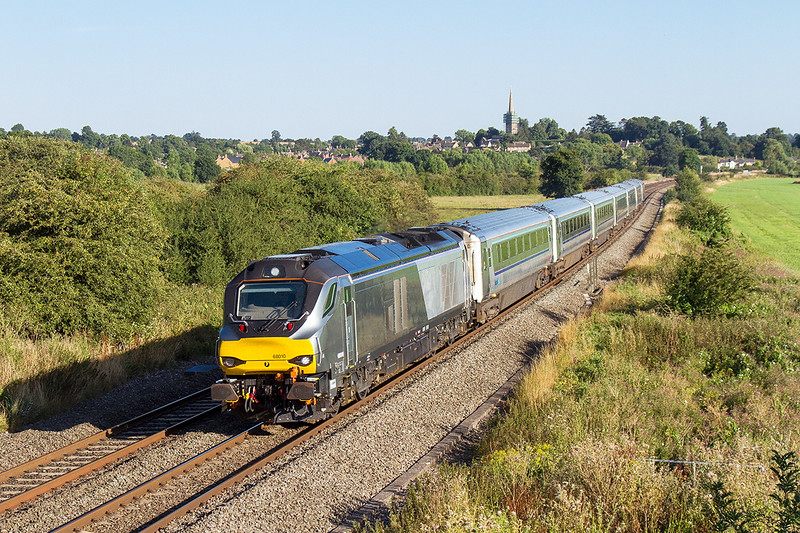15th Aug 2016:  6G41 is the 15.10 Marylebone to Birmingham Snow Hill but today it was terminated at Moor Sreet.  68010  is captured at Kings Sutton