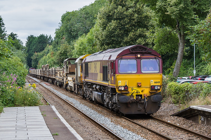 14th Aug 2016: 66149 running through Bradford on Avon station as it works 6W98 from Pembury to Westbury.  If it had not ben held In Bathampton loop because of a late running unit it would have been in full sun. Mmmmmm