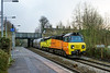 16th Dec 2016:  Running just a couple of minutes late 6C36 with the usual  motive power on the front 70805 is captured at Trowbridge.  Starting  from Westbyry Lafarge cement storage tanks  the empty PCAs are going to Aberthaw Cement works in South Wales