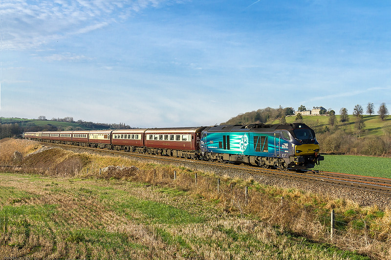 7th Dec 2016:  The Belmond 'Northern Belle' dining circular tour is pictured at Newton St Loe with 68016 on the front and 68023 at the rear.  Starting from Cardiff 1Z12 will reverse at Swindon and head for Gloucester and then go back to Wales