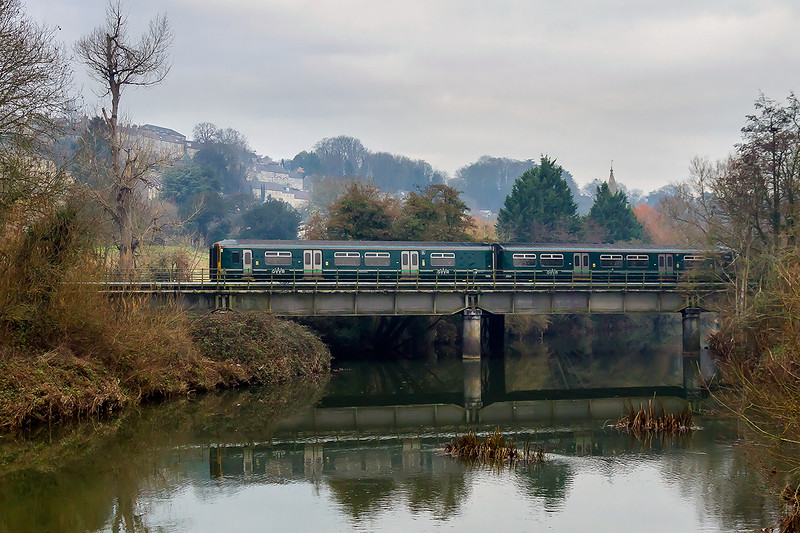 2nd Dec 2016:  On a cold and very dull day 150247 on the 11.10 from Weymouth to Bristol Temple Meads crosses the River Avon at Bradford on Avon.  I was there for the Aberthaw Cement but it ran 2 hours late and I had given up before then.