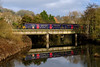 20th Dec 20016:  At 12.22 1F14 the 10.23 from Portsmouth Harbour to Cardiff crosses the Avon as it leaves the station at Bradford on Avon.  The set is 150925