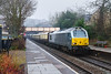 6th Dec 2016:  The next train through Bradford on Avon after the Aberthaw cement was the Belmond Orient Exprss to Bath.  1V80 in the hands of 67012 left Victoria at 09.43.  There was one video man on the station but no ther snappers which does indicate that I DO lactually ike getting pictures when the elements are against you and iso 3200 is the best that can be managed