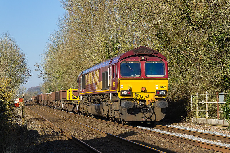 24th Feb 2016:  At Upton Lovell is 66147 on the point of 6O41 the morning Departmental from Westbury to Eastleigh