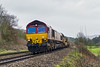 21st Feb 2016:  At Fishers Crossing in the Avon Valley 66161 hurries past with 6W97  Long Welded Rail train from Penarth Curve South Junction to Westbury