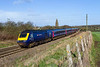 7th Fen 2016:  43010 TnT 43122 are making a circuitus journey with 1L46 from Swansea to Paddington.  Starting at 09.21 it ran the normal route via Bristol Parkway to Swindon.  Here it reversed and travelled via Chippenham and Melksham towards  Westbury.  Picured at Hawkeridge Jinction it is about to take the link that was opened in July 1942 gain access to the Berks & Hants and then continue to Paddington via Newbury
