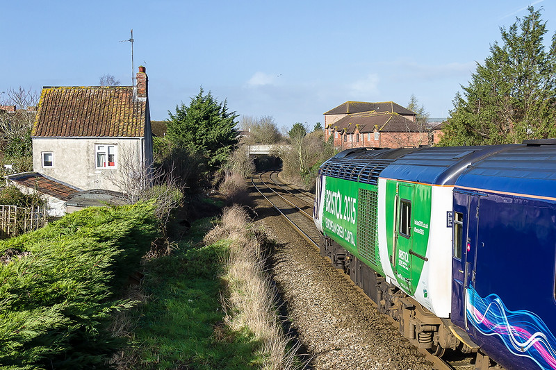 7th Feb 2016:  I never have any luck when tring to capture 43126 with the whte front on it's Bristol 2015 livery and today was ne exception as it came the wrong way..  Approaching Trowbridge is 1C09 the 10.03 Paddington to Bristol that had been diverted via the Berks & Hants