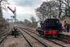 27th Feb 2016:  The view towards Chilcompton witrh Sentinel 7409 getting some attention.  The signal is off for the Jinty to depart up the hill