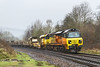 21st Feb 2016:  In heavy drizzle a filthy 70808 runs through Freshford with 6C97 from Worcester Hereford Sidings to  Westbury with a LWR train,  Not the easiest of pictures to process and get  a half decent result