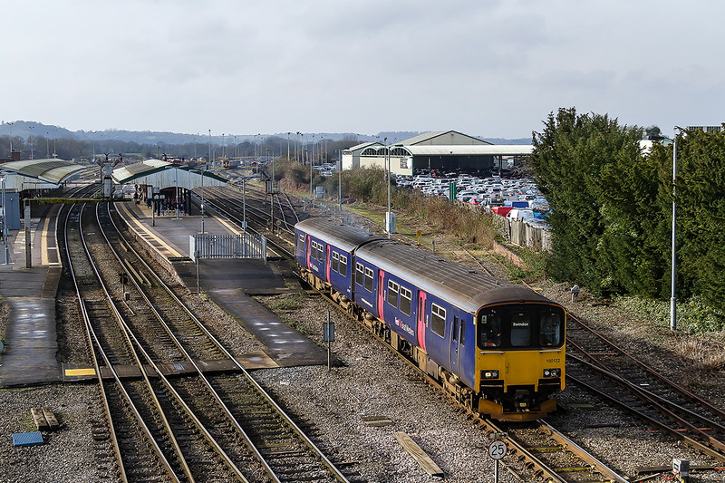 14th Feb 2016:  The Westbury to Swindon shuttle service is usually formed of a single 153 unit.  Today 1M07 the 10.30 to Swindon is trusted to 150122. Captured as it leaves platform 3