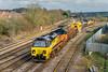 14th Feb 2016:  Coming off the Berks & Hants linr are Colas Rail 70808 & 70810 bring a Rail Vac from Ladbroke Grove to Westbury