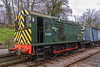 27th Feb 2016:  English Electric shunter D4095  Tops  number 08881 at Midsomer Norton.  Built to a pre war LMS design 995 of these locos were constructed up to 1962
