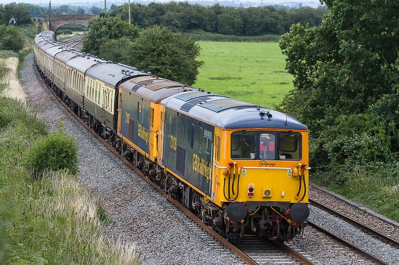 16th Jul 2016:  73128 & 73107 leading  on the rear of the return leg of  1Z74   the The Herd Of Wildebeeste' tour from Waterloo to Paignton.  The outward leg having used the LSWR main line to Exeter. on thefront were 73962 & 73963  Pictured here at Berkley Marsh near Clink Road Junction.
