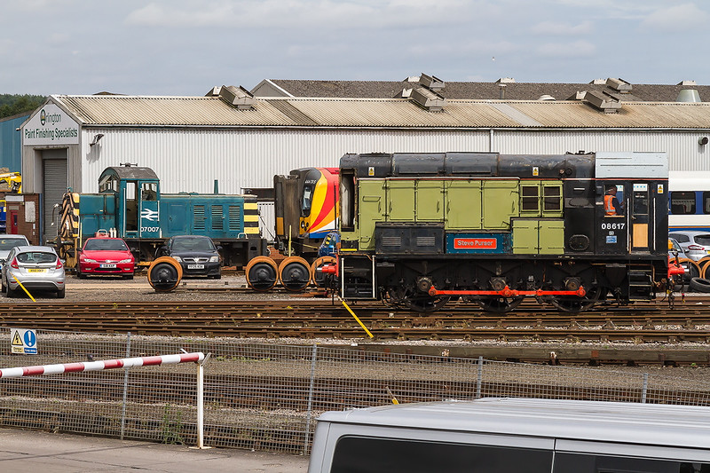 7th ul 2016:  07007, 444015 and 07617 'Steve Purser' stand in the works at Eastleigh