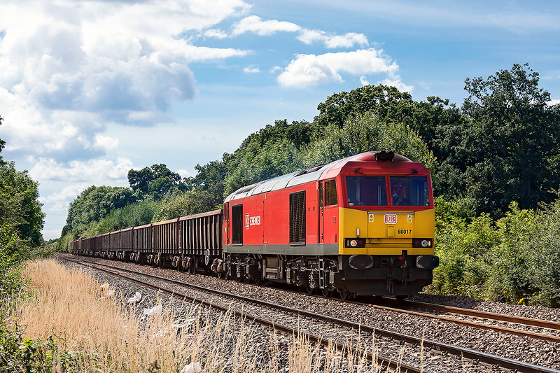 14th Jul 2016:  Nearly home as it runs through  Faiwood is 60017 with 6C28  the returning empties  from Exeter Riverside to Whatley.  At Westbury the train will reverse and return to Frome wher it can gain access to thee Whatley Branch.  60 years ago there was direct access for train coming from the West