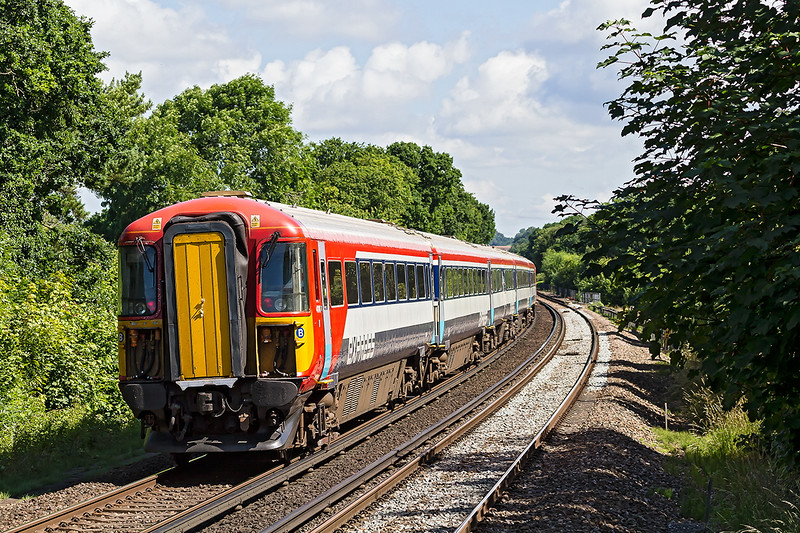 4th Jul 2016:  Gatwick Experss Wessex unit 442414 charges north away from Wivelsfield  with 1A18 the 10.18 Brighton to Victoria Gatwick Express service