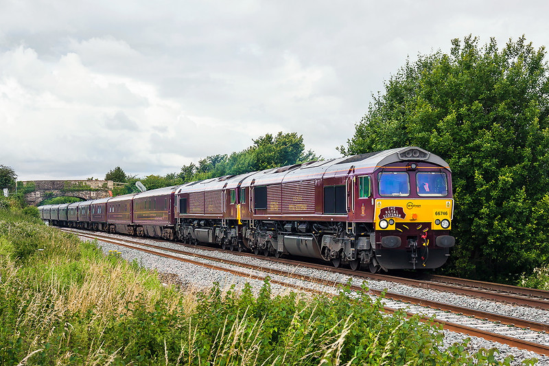 12th Jul 2016:  Royal Scotsman liveried GBRf 66746 & 66743 are pictured at Fairwood as they work 1Z79.  The day's itenery started at Gloucester and went to Newton Abbot where it reversed and it is on ot's way tp Bath.  Later it will continue to Oxford via Salisbury