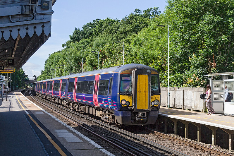 4th Jul 2016:  Now with the First Group branding replaced by Thameslink 377516 races through Wivelsfield with 1W26 the 09.35 Brighton to Bedford service