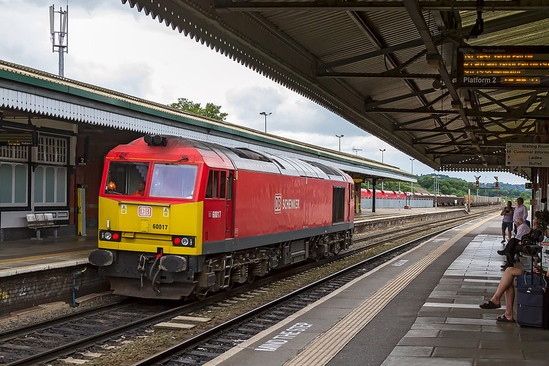 21st Jul 2016:  Having worked 6V16 from Chichester to Westbury Down Yard 60017 now runs back through platform 1 at the Station