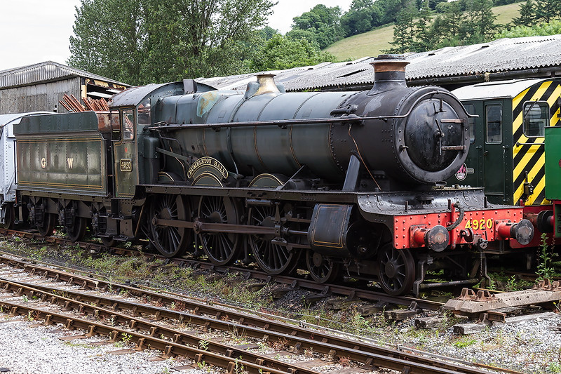 25th Jun 2016:  GWR Hall  4920 Dimbledon Hall looks rather sad as it waits it's turn in the works.  I am glad that I photographed it in steam at Westbury in BR days