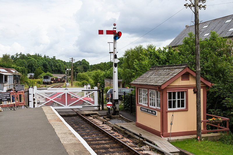 25th Jun 2016:   This wooden signal box was removed from this site when the line closed though the levers ramained n situe.  It became the propperty of a local vicar who used it as a green house.  The DVR struck a deal to make him a new one in exchange for the old one.  Nice.