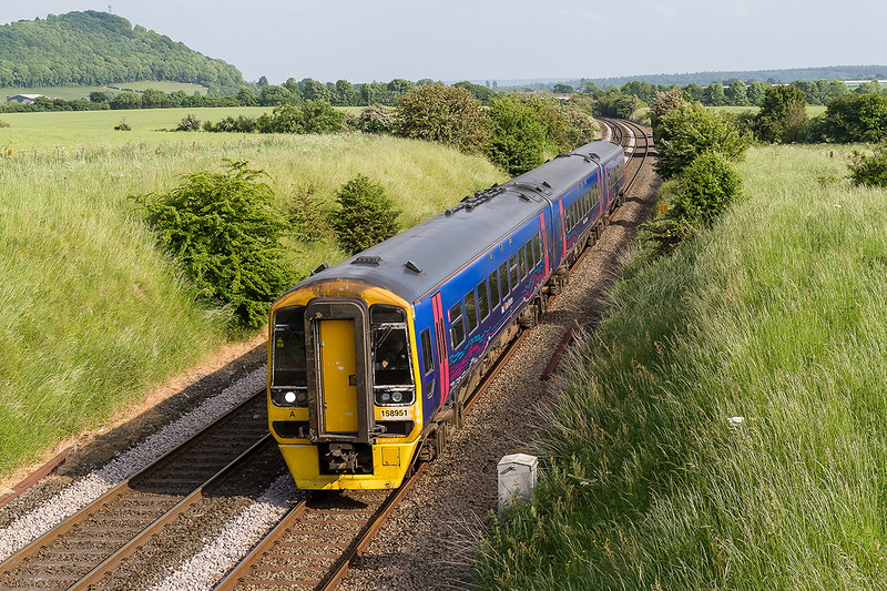 7th Jun 2016:  Starting it's journey only a couple of miles away at Warminster 158951 is working 2E27 the 17.28 to Great Malvern.