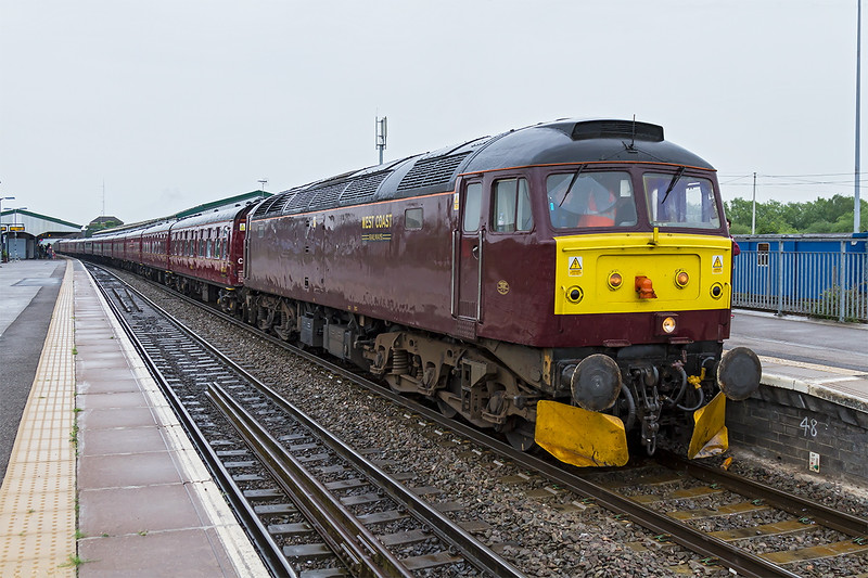 11th Jun 2016:  47245 on the front of the Dartmouth Express  from Woking to Kingswear,  It was orriginally planned  for 34052 (actually (34046 to take over the tour from Westbury but this was  later changed to Taunton.  47760 was acting as tail gunner