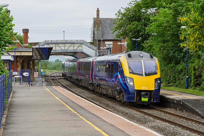 2nd Jun 2016:  Screaming through Culham is Adelante 180108 forming 1D27 the 10.50 Paddington to Oxford.  In my opinion the most attractive DMU yet to run on British metals