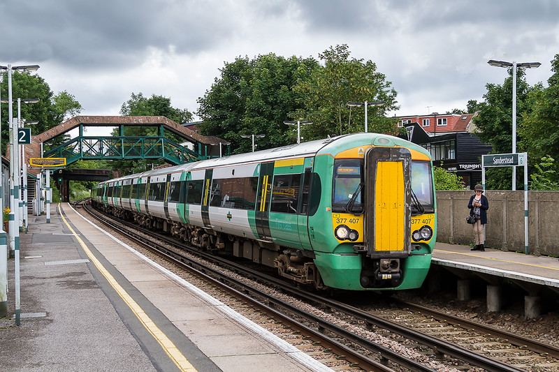 16th Jun 2016L  377407 +377123+377113 working 2L35 the 11.36 from East Grinstaed to Victoria call at Sanderstead.  A Minute earlier and it was full sun.