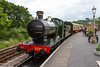 25th Jun 2016:  GWR Collet o-6-6-0 3205 stands at Toptnes Littlehempston station ready to take the 15.00 train back to Buckfastleigh.  The rusty line on the far left is the link to the GWR main line.