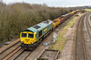 10th Mar 2016:  66585 is again tasked with working 7C73 back to Fairwate after most of it was refilled with ballast at Westbury.  It is good to see that the old 'Seacows' are still able to ern their keep.  The location id Fairwood Junction