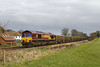 10th Mar 2016:  Captured at Wylye is DB Stickered 66127 working 7V07 the 12.41 Chichester to Merehead empties