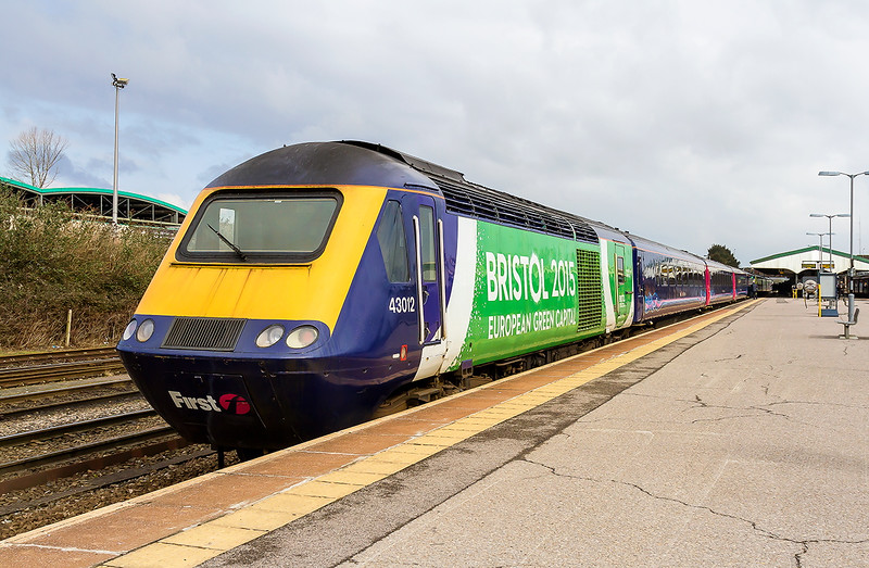 5th Mar 2016:  Having pictured yesterday the second power car to  have the 'Bristol 2015 ' wrap'  it is now the turn of the thie  one to be so embellished tp be captured.  43012 is on the rear of 1A78 the 09.54 from Exeter St Davids to Paddington