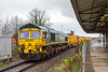 27th Mar 2016:  Having led on 6Y19 from Basingstoke 66536 is now at the tail as 66546 takes the HOBC on the leg from Westbury to Fairwater Yard in Taunton