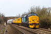 23rd Mar 2016:  The Network Rail Test Train Top 'n Tailed by 37688 and 37601 are on time at Heywood  as they work from Derby to Bristol via Reading and Weymouth.   Many years ago there was, under the bridge, a cross over and points giving access to the reception sidings for the Army stores depot that is now the site of the West Wilts trading Estate at Westbury.