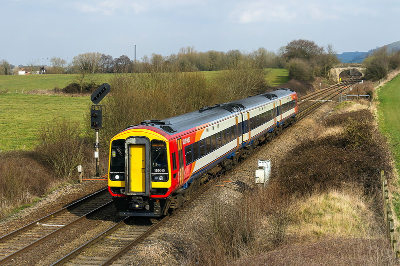 21st Mar 2016:  159010 is forming the recentley intoroduced South West Trains service from Waterloo to Yeovil Pen Mill.  1L35 leaves London at 12.50 and arrives at Yeovil at 15.35.  The train is pictured at Fairwood