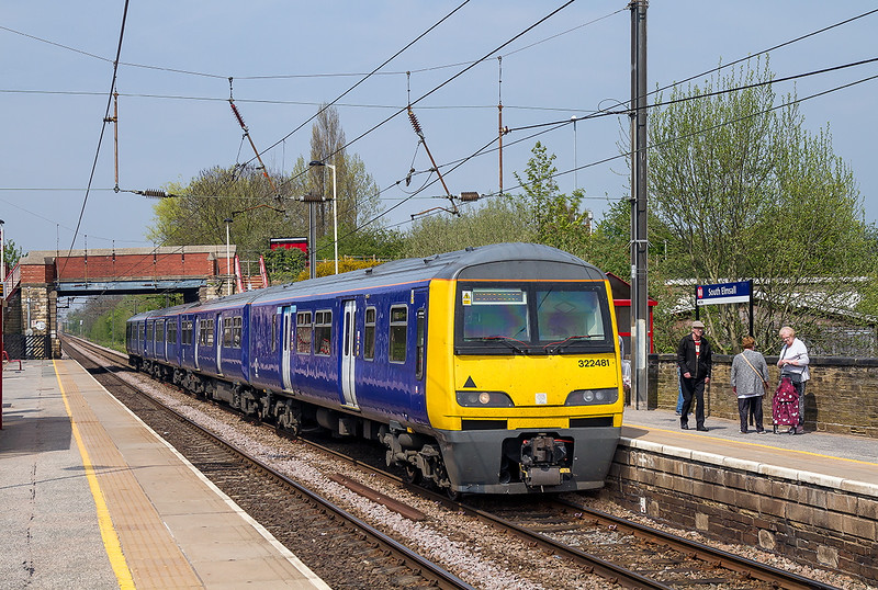 7th May 21016:  The 11.21 from Leeds to Doncaster in the hands of 322481 draws to a halt at South Emsall