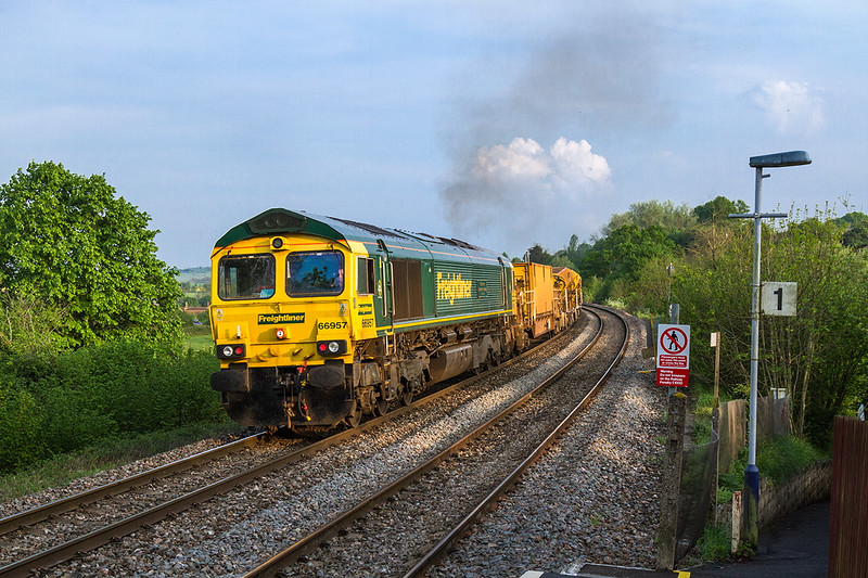 12th May 2016:  With 66953 at the front 66957 is pushing hard as the HOBC climbs through Dilton Marsh.  Starting from Fairwater Yard in Taunton the destination is Amberley