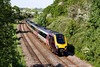 29th May 2016:  Dashing down the grade through Shockerwick, near Box, is 221135 with the diverted 10.08 (1V58) from Edinburgh to Plymouth,  With the line closed for engineering work between Bristol Temple Meads and Bristol Parkway the Cross Country services had to run between Gloucestar and Bristol via Swindon